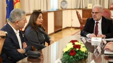 Photo of Speaker Xhaferi meets MEP Kouloglou and 2015 Nobel Peace Prize laureate Ouided Bouchamaoui