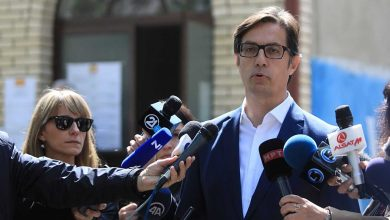 Photo of Presidential candidate Stevo Pendarovski gives statement after voting