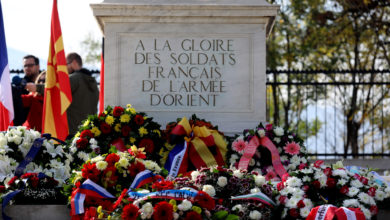 Photo of French-German commemoration on World War I Armistice Day