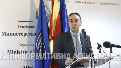 Photo of Interior Minister Nakje Chulev holds news conference