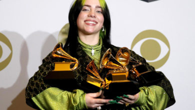 Photo of Stunned Billie Eilish and brother Finneas win song-of-the-year Grammy