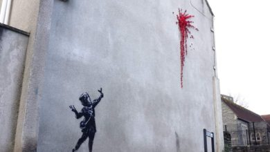Photo of In Bristol, Banksy creates catapulted roses mural for Valentine's Day