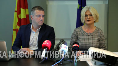 Photo of Minister Manchevski holds a news conference