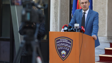 Photo of Interior Minister Nakje Chulev at news conference