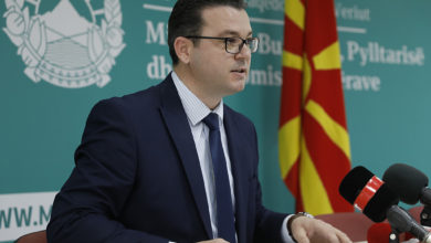 Photo of Additional Deputy Minister Tripunovski speaks at news conference