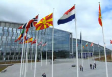 Photo of North Macedonia's flag raised at NATO HQ in Brussels
