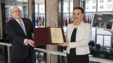 Photo of Chargé d'affaires Petkovska hands over Instrument Ratification to Assistant Secretary of State Reeker