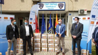 Photo of Ohrid police gets donation of personal protective equipment from IPA funds