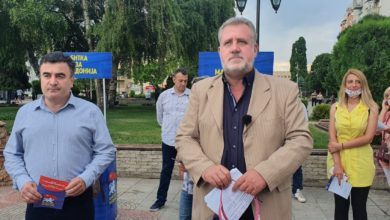 "Photo of ""Never North, Only Macedonia"" coalition campaigns in Kumanovo"