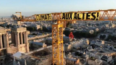 Photo of Greenpeace activists display huge banner on Notre-Dame repair crane