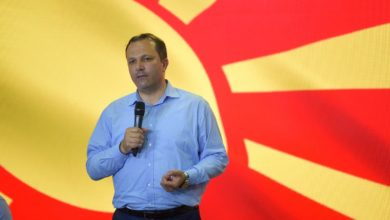 Photo of Spasovski at Skopje panel: We build friendships, bridges and infrastructure