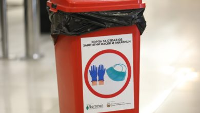 Photo of PPE waste bins set up throughout North Macedonia