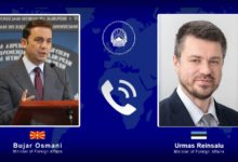 Photo of FM Osmani holds online meeting with Estonian counterpart Reinsalu