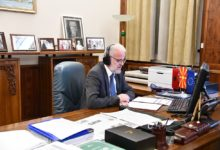 Photo of Speaker Xhaferi in video meeting with CoE officials Bergmann and Brož