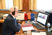 Photo of Speaker Xhaferi, Austrian counterpart Sobotka in online meeting