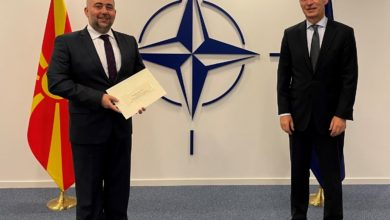 Photo of Ambassador Taleski hands over credentials to NATO Secretary General Stoltenberg