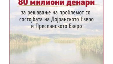 Photo of Government allocates EUR 1,3 million for lakes Dojran and Prespa