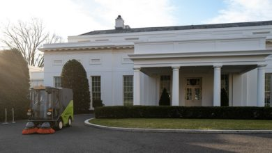 Photo of Macedonian sweeping machine in use near White House ahead of inauguration ceremony