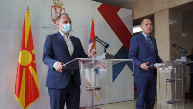 Photo of Health ministers Filipche and Lončar speak at news conference in Belgrade