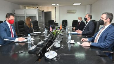 Photo of Minister Spasovski, Ambassador Byrnes discuss recent police operations, ongoing U.S. technical assistance